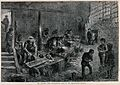 Men and boys are working in a fork-grinders. Wood engraving Wellcome V0039261.jpg
