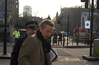 Michael Gove - Gove outside the Palace of Westminster, December 2008
