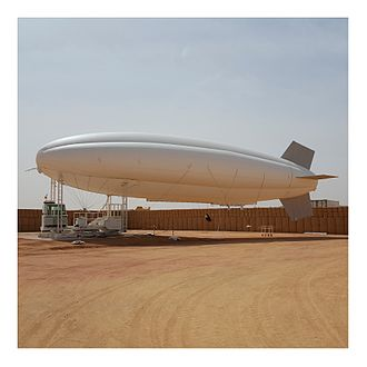 Tethered balloon - Tethered balloon used for military camp protection. Aerostat manufactured by A-NSE.