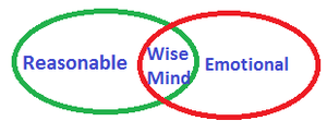 Dialectical behavior therapy - A diagram used in DBT, showing that the Wise Mind is the overlap of the emotional mind and the reasonable mind.