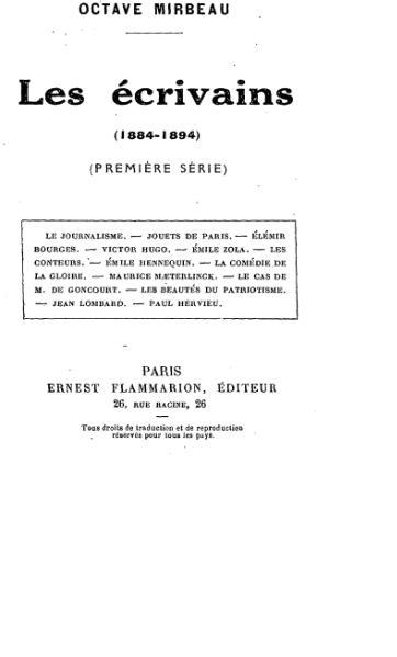 File:Mirbeau - Les Écrivains (première série).djvu