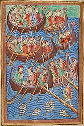 Colour photograph of folio 9v of the Miscellany on the Life of St. Edmund, showing sea-faring Danes invading England