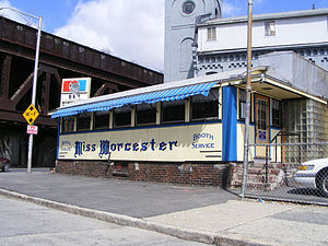 Worcester Lunch Car Company - The Miss Worcester Diner (1948) remains across from the former factory headquarters
