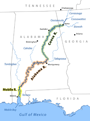 The Coosa River is the major tributary when it joins the Tallapoosa River near Wetumpka, Alabama to form the Alabama River.