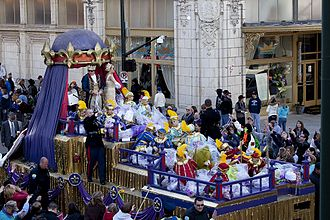 Mardi Gras in Mobile, Alabama - King Felix and his queen of Mardi Gras ride the crown float each year.