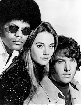 V.l.n.r. castleden Clarence Williams III, Peggy Lipton en Michael Cole in The Mod Squad (1971)