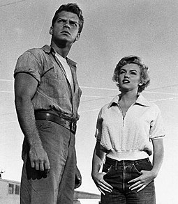 Keith Andes and Monroe in Clash by Night (1952). The film allowed Monroe to display more of her acting range in a dramatic role. Monroe and Andes in Clash By Night.jpg