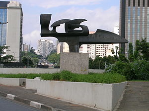 Death of Ayrton Senna -  Monument to Ayrton Senna, Melinda Garcia's work, installed at the entrance of the tunnel under Ibirapuera Park, São Paulo, Brazil