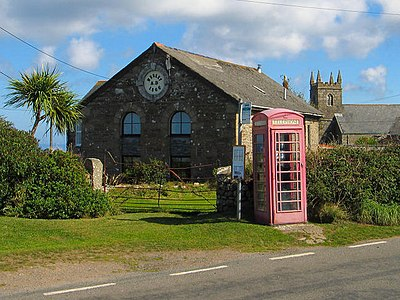 A traditional phone box.