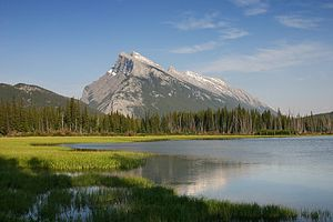 Dip slope - The south-facing (right) side of Mount Rundle in Canada is a good example of a dip slope. The cap rock is Rundle Group dolostone.