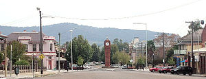 Mudgee - View of central shopping area, showing War Memorial Clock Tower