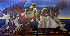 Section of Painting and Sculpture - Mail Service in the Tropics (1937), mural by Rockwell Kent for the William Jefferson Clinton Federal Building, Washington, D.C.