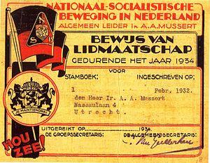 Anton Mussert - Mussert's membership card in the NSB