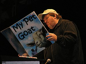 English: Michael Moore parodies George Bush 9/...