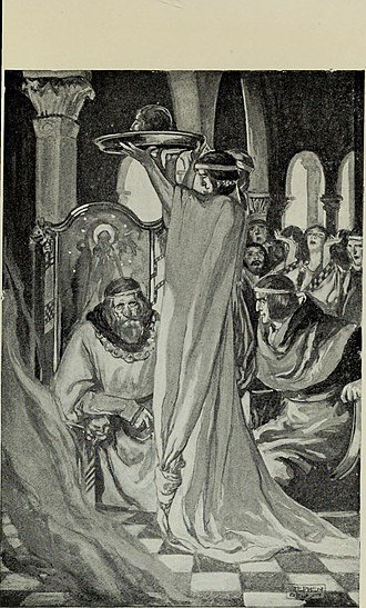 Peredur son of Efrawg - The mysterious severed head being shown to Peredur by the King in T. W. Rolleston's Myths and Legends of the Celtic Race (1910)