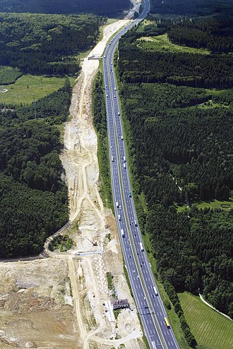 Nuremberg–Munich high-speed railway - Construction of the route had a large environmental impact; shown: Kösching Forest near Ingolstadt in 2001.