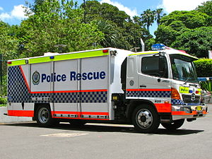 State Protection Group - One of several Police Rescue Hino Heavy Rescue units, callsign Rescue 20.