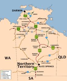 Città, paesi e strade del Territorio del Nord