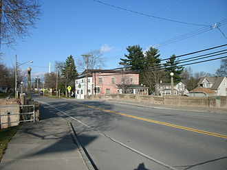 New York State Route 63 - NY 63 northbound at Johnson Creek in Lyndonville