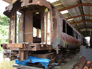 NZR RM class (88 seater) -  Damaged NZR RM 133 88-seater modules at Pahiatua for the RM 133 Trust.