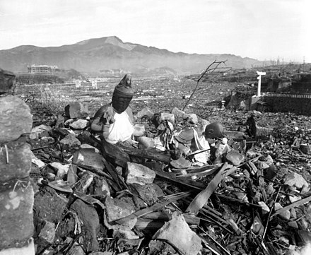 "The Nagasaki Prefecture Report on the bombing characterized Nagasaki as ""like a graveyard with not a tombstone standing"". Nagasaki temple destroyed.jpg"