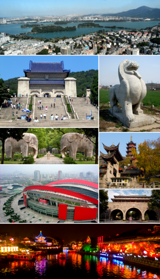 """Nanjing - Clockwise from top: 1. the city, Xuanwu Lake and Purple Mountain; 2. stone sculpture """"bixie""""; 3. Jiming Temple; 4. Yijiang Gate with the City Wall of Nanjing; 5. Qinhuai River and Fuzi Miao; 6. Nanjing Olympic Sports Centre; 7. the spirit way of Ming Xiaoling Mausoleum; 8. Sun Yat-sen Mausoleum"""