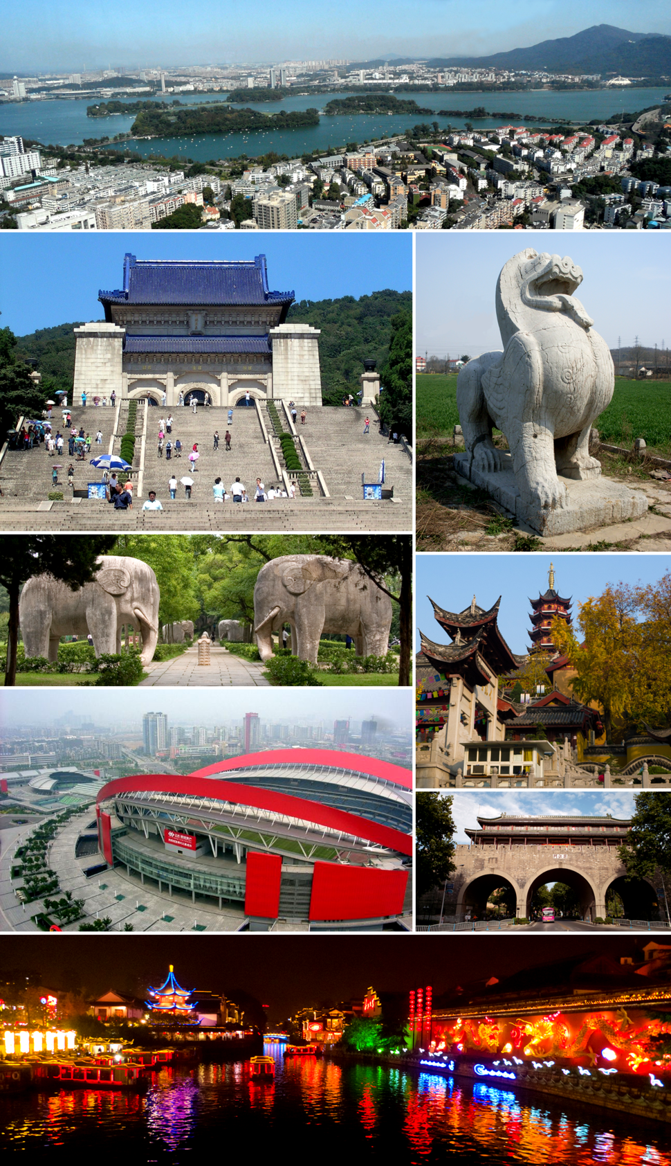 "Clockwise from top: 1. the city, Xuanwu Lake and Purple Mountain; 2. stone sculpture ""bixie""; 3. Jiming Temple; 4. Yijiang Gate with the City Wall of Nanjing; 5. Qinhuai River and Fuzi Miao; 6. Nanjing Olympic Sports Center; 7. the spirit way of Ming Xiaoling Mausoleum; 8. Sun Yat-sen Mausoleum"
