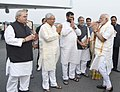 Narendra Modi being seen-off by the Governor of Bihar, Shri Satya Pal Malik, the Chief Minister of Bihar, Shri Nitish Kumar and the Union Minister for Consumer Affairs, Food and Public Distribution, Shri Ram Vilas Paswan.jpg
