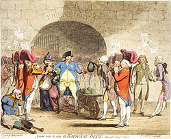 Centre: George III, drawn as a paunchy man with pockets bulging with gold coins, receives a wheel-barrow filled with the money-bags from William Pitt, whose pockets also overflow with coin. To the left, a quadriplegic veteran begs on the street. To the right, George, Prince of Wales, is depicted dressed in rags.