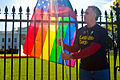 National Equality March - Rainbow Flag at White House - Washington DC 2009 (4007477314).jpg