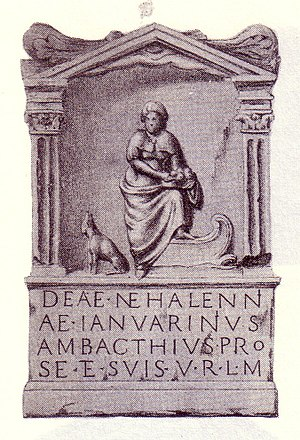Mythology in the Low Countries - Carved stone votive for Nehalennia in Domburg, Zeeland, the Netherlands