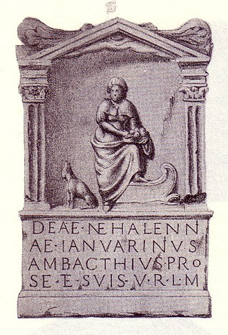 Nehalennia - An altar for Nehalennia in Domburg, Netherlands. On her right is a dog, and in her hands a basket of apples.
