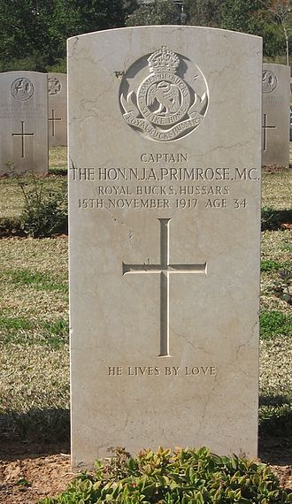 Neil Primrose (politician) - Headstone on Capt. Primrose's grave, Ramleh War Cemetery
