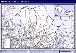 Map of the VDCs in Sindhupalchok District