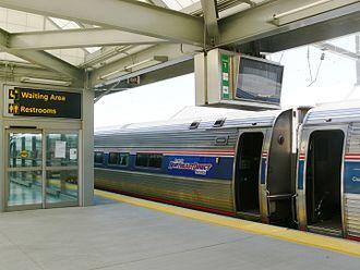 Newark Liberty International Airport Station - An Amtrak Northeast Regional train at the station in 2007