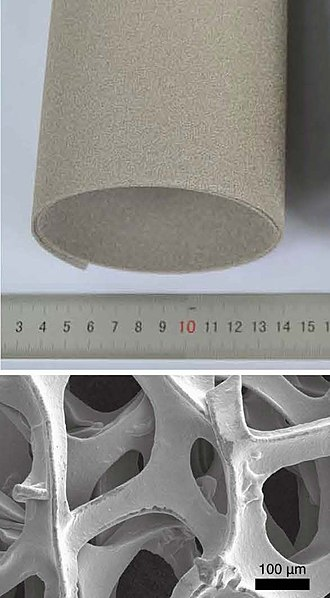 Nickel - Nickel foam (top) and its internal structure (bottom)