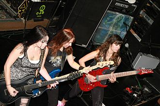 The Iron Maidens - Nikki Stringfield (left), Wanda Ortiz (middle), and guest guitarist Nili Brosh (right)