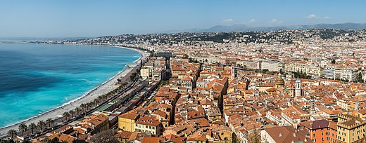 Nice, Alpes-Maritimes is often considered to be Southern France's best known city abroad, although it is not the largest Nizza-overview-4070938-PanoPS.jpg