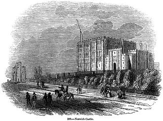 Norwich Castle - A mid-19th-century engraving of Norwich Castle from Charles Knight's Old England: A Pictorial Museum (1845).