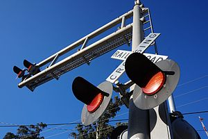 Novato–Downtown station - Crossing signals in Downtown Novato