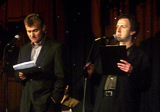 The Now Show - Hugh Dennis (left) and Steve Punt at the 2005 Radio Festival, Edinburgh.