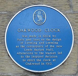 Oakwood, Leeds - Plaque for the Oakwood Clock