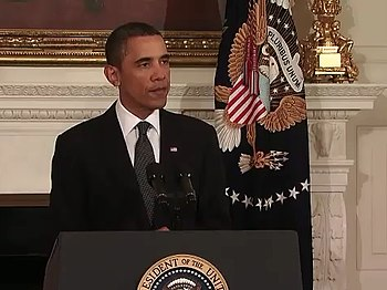 English: U.S. President Barack Obama speaking ...