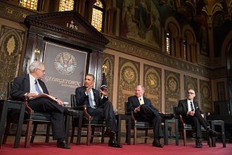 Gaston Hall is a venue for many events, such as speeches from U.S. President Barack Obama. Obama at Georgetown University talk on poverty.jpg