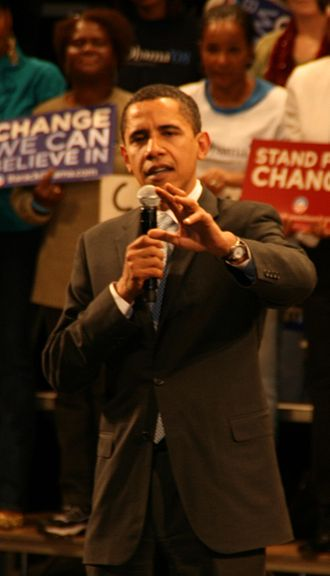 Barack Obama presidential primary campaign, 2008 - Obama addressing supporters the night before the South Carolina primary at the University of South Carolina