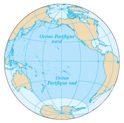 Carte de l'océan Pacifique.