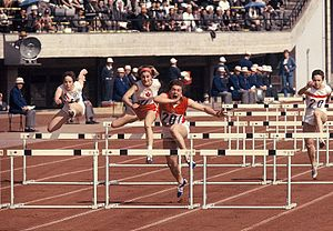 Athletics pentathlon - Hurdles event at the first Olympic women's pentathlon in 1964