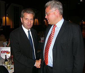 Günther Oettinger - Oettinger with Cai-Ullrich Fark Warthausen's former Mayor at a CDU rally in Biberach-Riss, September 2009