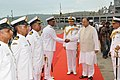 Officers of INS Kamorta being introduced to Defence Minister Arun Jaitely.jpg