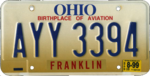 Ohio license plate, August 1999 (Franklin County).png